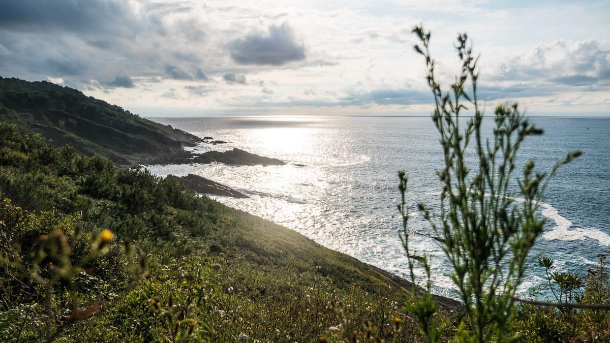 Ein toller Blick ueber eine gruene Kueste im Baskenland